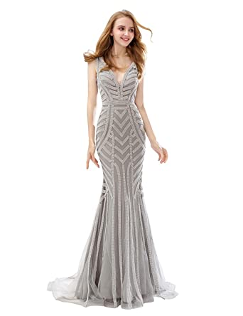 0152bfa7b2 Belle House Silver Beaded Chain Formal Dresses Prom Dresses 2018 Long Sexy  V Neck Evening Gowns