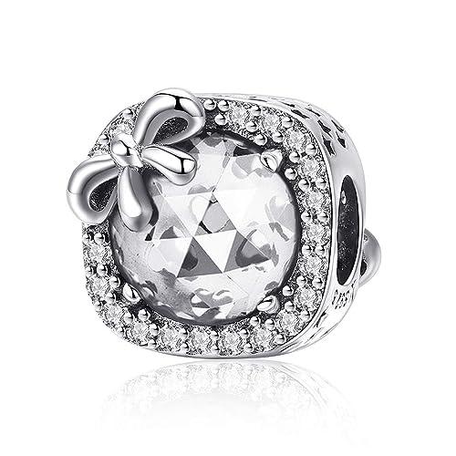 897496d3b MUERDOU Birthstone Charm for Pandora Charms Bracelet 925 Sterling Silver  Bowknot Birthday Crystal Charms for Bracelet
