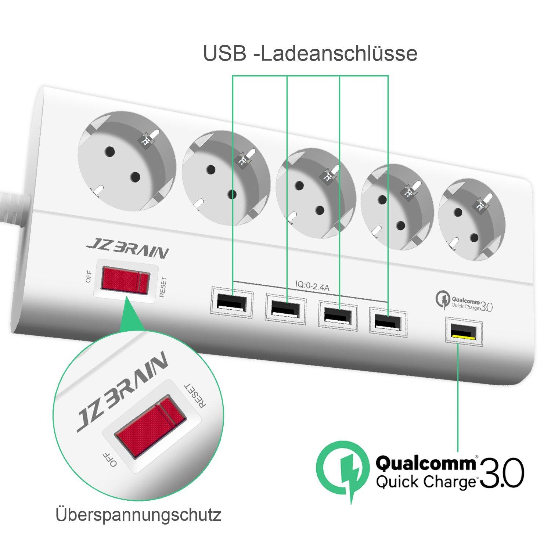 jzbrain 5 de regleta con 5 puertos USB 1,8 m cable para ...