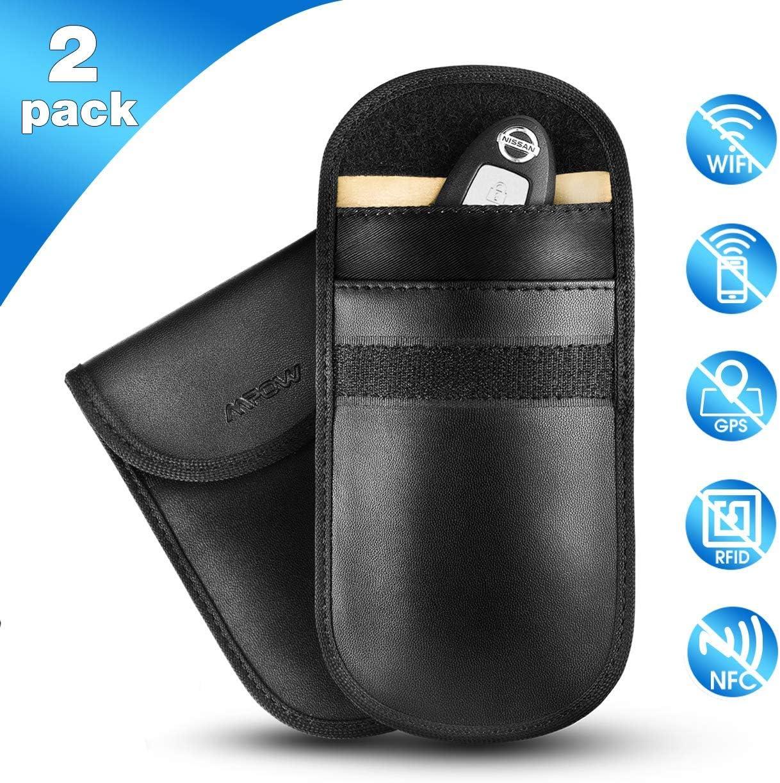 Mpow Faraday - 2 Paquetes de Funda para Llave de Coche con Bloqueador de señal, Funda Protectora antigolpes para Llaves de Coche sin Llave, Bloque de señal, Bloqueo de WiFi/gsm/LTE/NFC/RF/RFID: Amazon.es: Electrónica