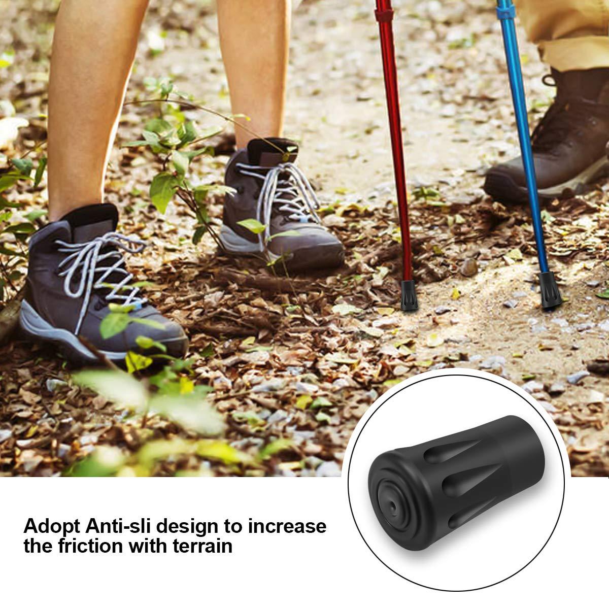 Dokpav 20 Pcs//10 Pares 12mm Topes de Goma para Bastones de Senderismo Puntas de Goma para Bastones de Trekking