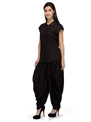 41a7f85881 Patrorna Blended Women s Shirt Top and Dhoti Set Night Suit in Black (Size S-7XL