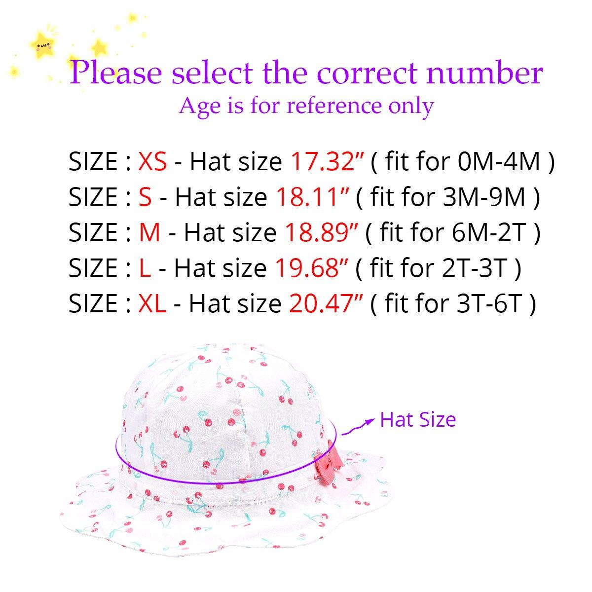 SOMALER Baby Girls Summer Sun Hat Toddler Kids Spring Lightweight Foldable Cotton Cap by SOMALER (Image #4)