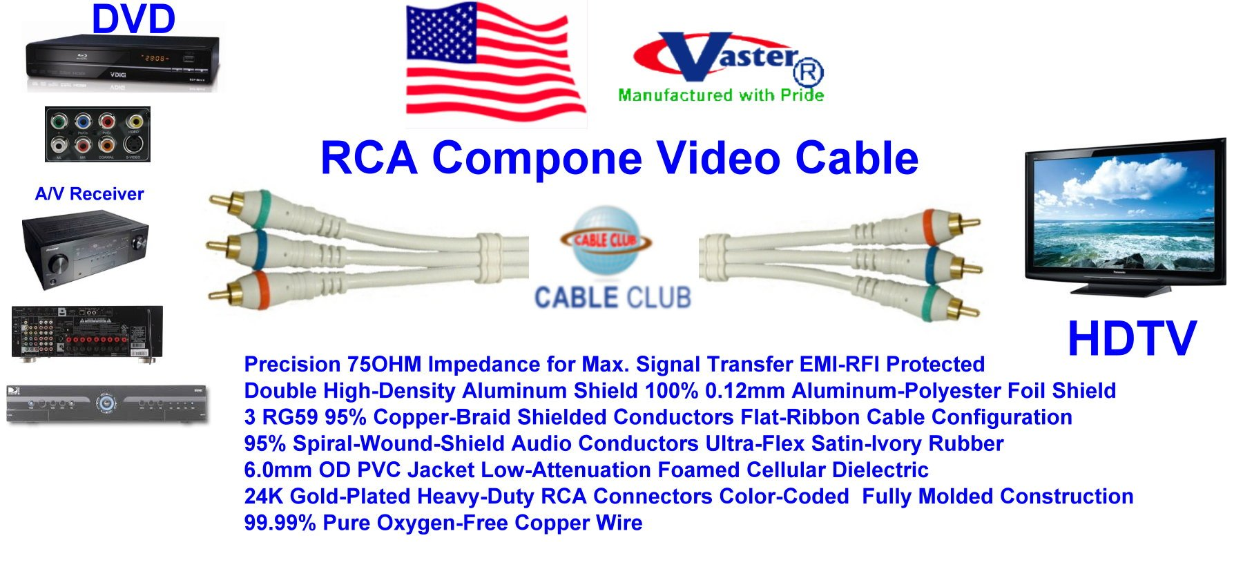 SuperEcable - 3 in 1 RCA Component Video Cable 100 Ft