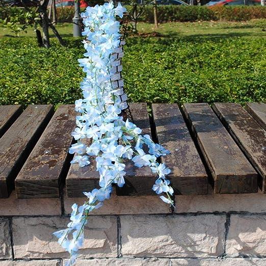 APOO Flores de Vid Artificial Seda Falsa Wisteria Ivy Vine Jardín Colgante Flor Planta Inicio Boda Fiesta Decoración Día de San Valentín Regalo, Azul Cielo: Amazon.es: Hogar