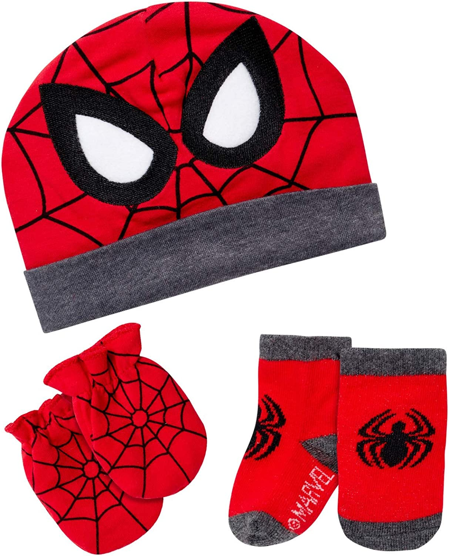 Marvel Baby Boys Gift Set – Take Me Home Set Cotton Beanie, Mittens & Socks (0-3M)