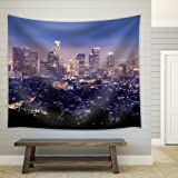 Wall26 - The City of Los Angeles All Lit Up at Night - Fabric Tapestry, Home Decor - 51x60 inches