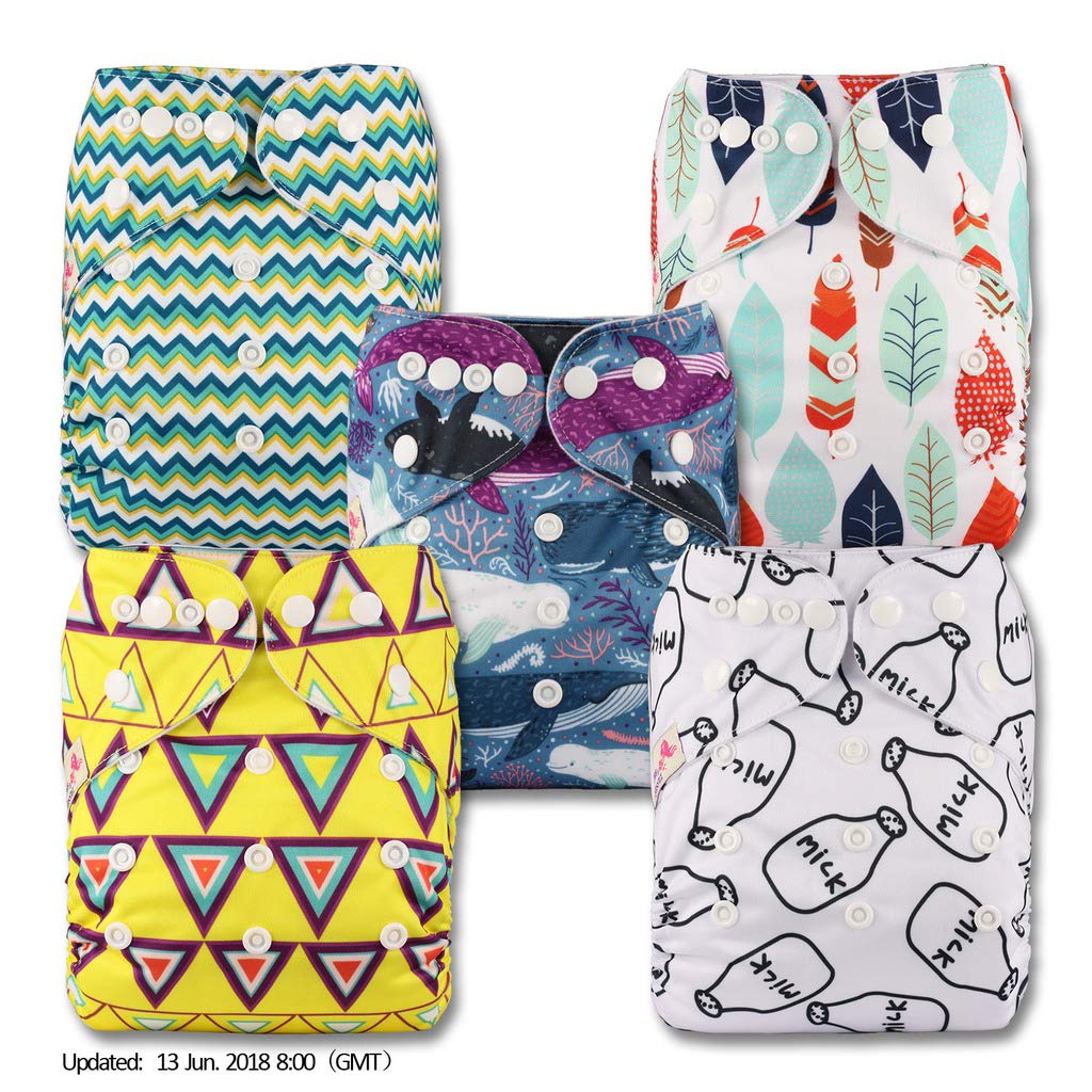 with 10 Bamboo Inserts Fastener: Hook-Loop Littles /& Bloomz V1005bb1 Reusable Pocket Cloth Nappy