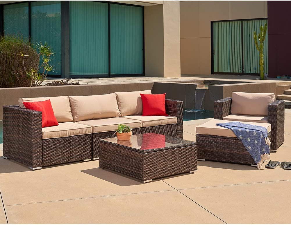 SUNCROWN Outdoor Furniture Patio Sofa and Chair 6 Piece Set All-Weather Checkered Wicker Seat Cushions and Modern Glass Coffee Table, Backyard, Pool, Waterproof Cover