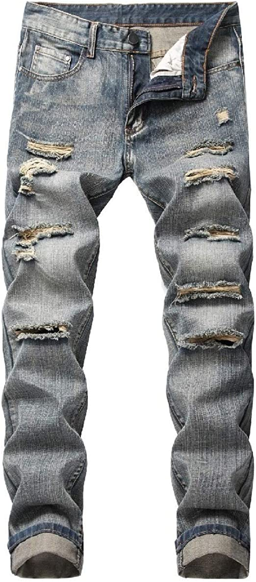 EnergyWD Men's Distressed Ombre Pocketed Mid-Rise Washed Personalized Jean Pant