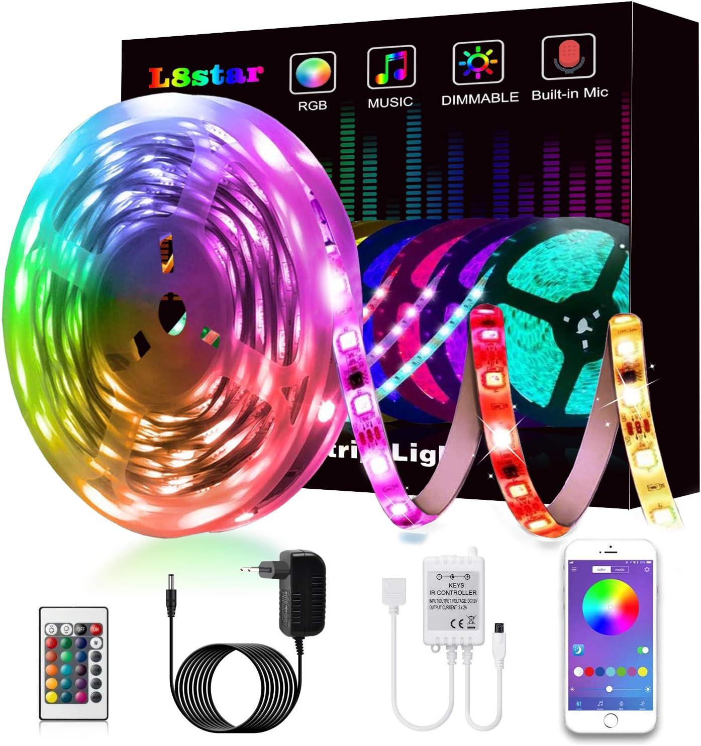 Anwendung f/ür Schlafzimmer LED Strip 8m Teaisiy Led Streifen RGB Led Lichterkette mit App Bluetooth Kontroller Sync zur Musik und 40 Tasten IR Regler LED Band Party und Weihnachtsdekoration