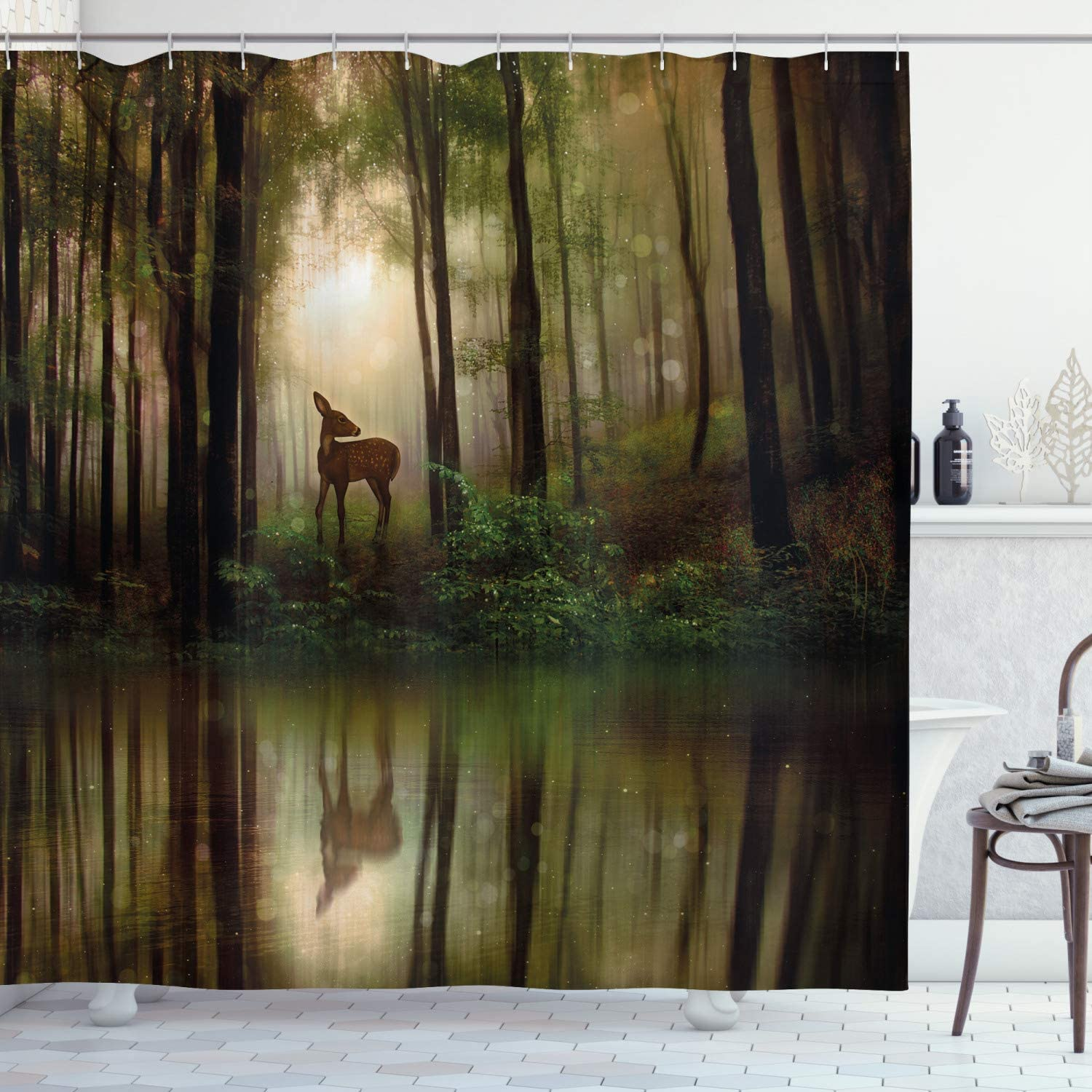 Ambesonne Nature Shower Curtain, Baby Deer in The Forest with Reflection on Lake Foggy Woodland Graphic, Cloth Fabric Bathroom Decor Set with Hooks, 70