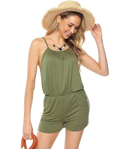 2387b22f03af Amazon.com: Aiboria Women Summer Solid Sleeveless Spaghetti Strap Jumpsuit  Casual Stretchy Long/Short Pant Rompers: Clothing