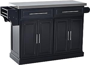 HomCom Modern Rolling Kitchen Island Storage Cart w/Stainless Steel Top - Black