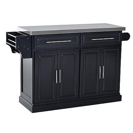 Beau HomCom Modern Rolling Kitchen Island Storage Cart W/Stainless Steel Top    Black