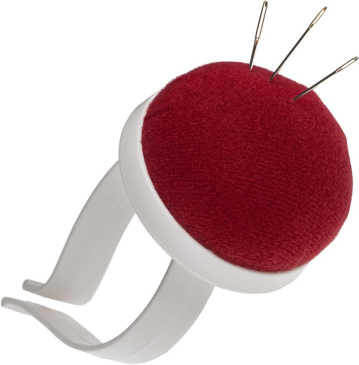 Arm pin cushion pin cushion for the wrist in red with plastic bangle