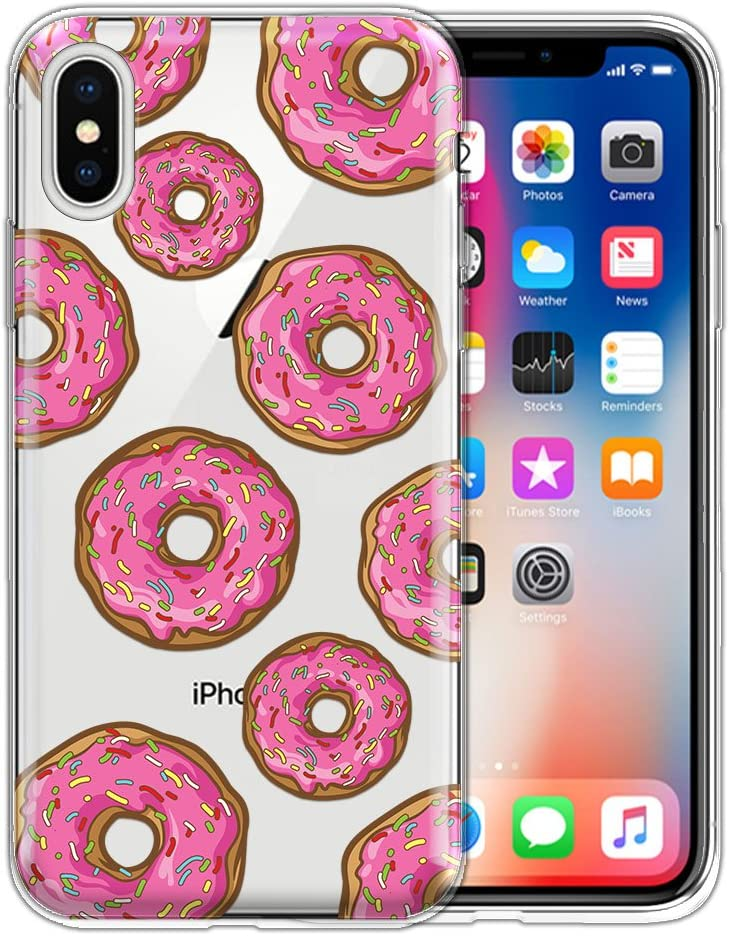 FINCIBO Case Compatible with Apple iPhone X XS 5.8 inch, Clear Transparent TPU Silicone Protector Case Cover Soft Gel Skin for iPhone X XS - Pink Frosted Sprinkled Donuts