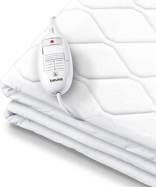 apagado autom/ático 3 horas transpirable cama individual blanco Beurer UB64 Calientacamas individual cara superior vell/ón lavable display LCD 3 potencias 95x190//200 cm