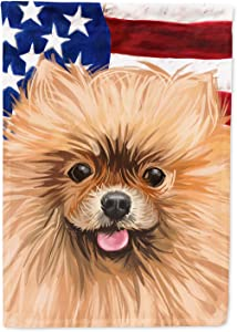 Caroline's Treasures CK6655GF Pomeranian Dog American Flag Flag Garden Size, Small, Multicolor