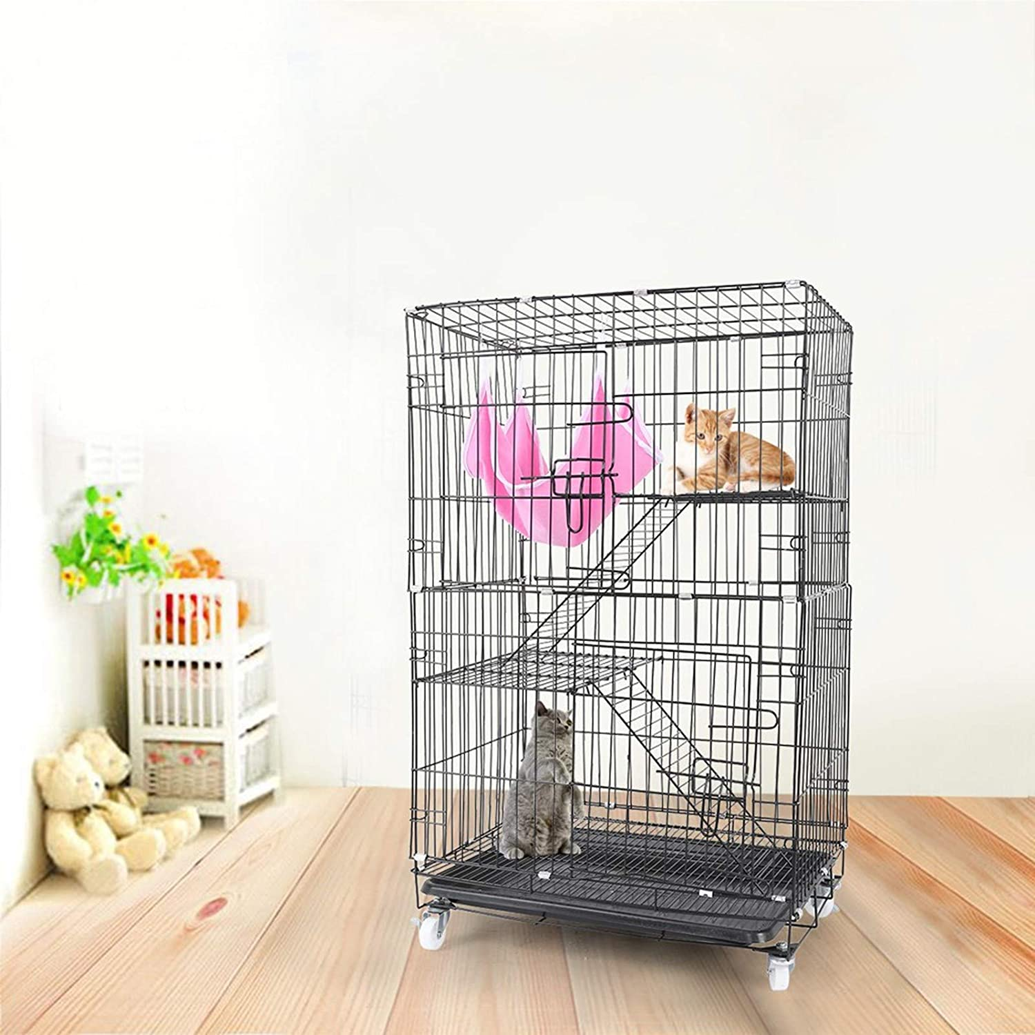 Cat Cage, Luxury 3-Tier Kitten Ferret Rat Portable Cat Home on Wheels Fold 360° Rotating Casters Enclosure Pet Playpen with Ramp Ladders Hammock and Platforms Bed Easy to Clean
