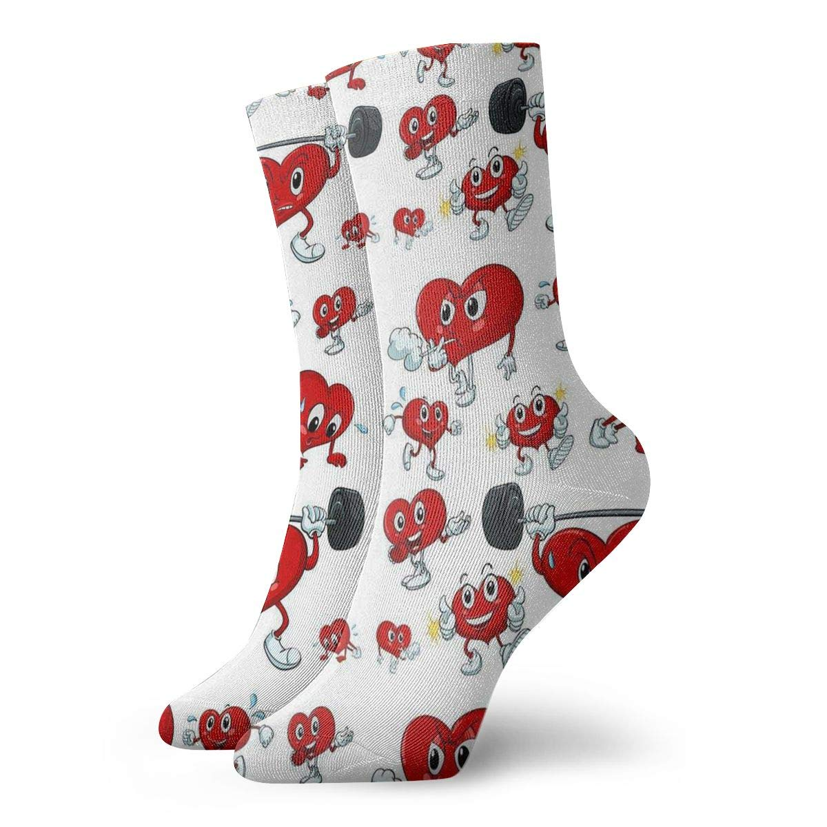 Cartoon Heart Work Out Unisex Funny Casual Crew Socks Athletic Socks For Boys Girls Kids Teenagers