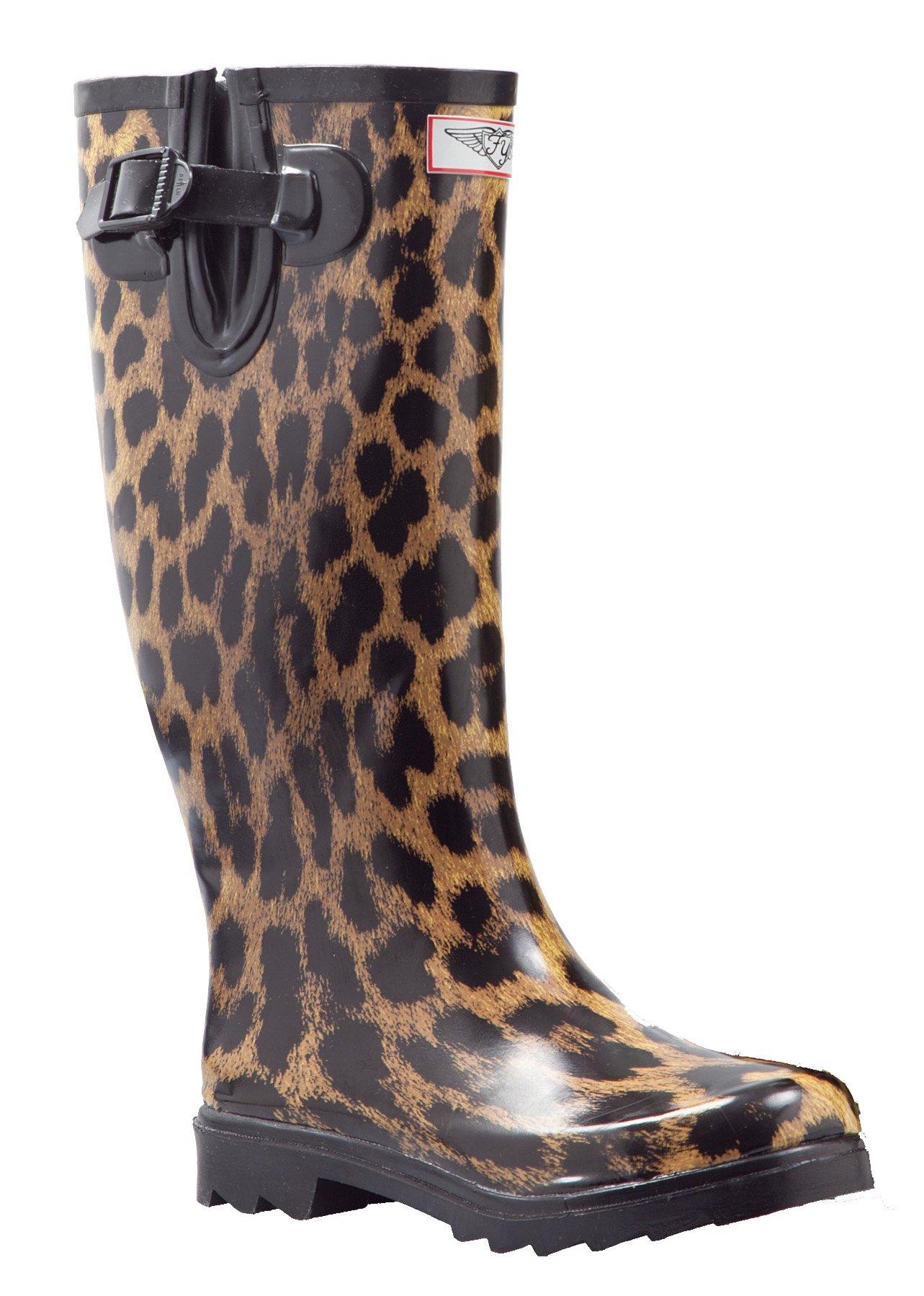 Women Rubber Rain Boots Cotton Lining, Safari Animal Prints (Leopard, 6)