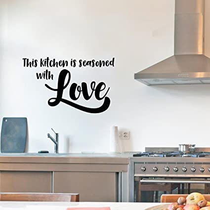 Lovely Vinyl Wall Art Decal   This Kitchen Is Seasoned With Love   14u0026quot; X  23u0026quot