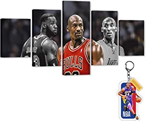 Jordan-Kobe-Lebron Canvas Wall Art LA Lakers Sports Super Star Picture, MJ Michael Bryant James Be Legend Artwork for Home Wall Decor, Men Boys Idol Canvas Print for Room Office Decor (60
