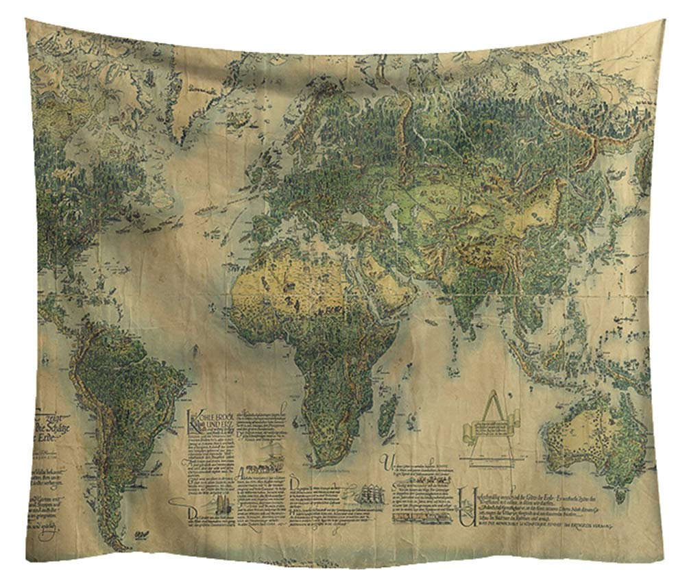 ZebraSmile High Definition Printing Middle Ages World Map Tapestry Antique Thick Retro Microfiber Fade Resistant Map Wall Art Decor Hanging Bedroom Living Room Home Decoration Tapestries 59 by 51 in