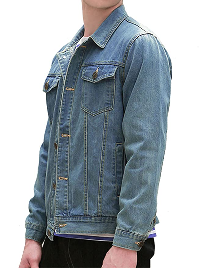 uxcell Allegra K Men Single Breast Flap Pocket Long Sleeves Washed Classic Denim Jacket at Amazon Mens Clothing store: