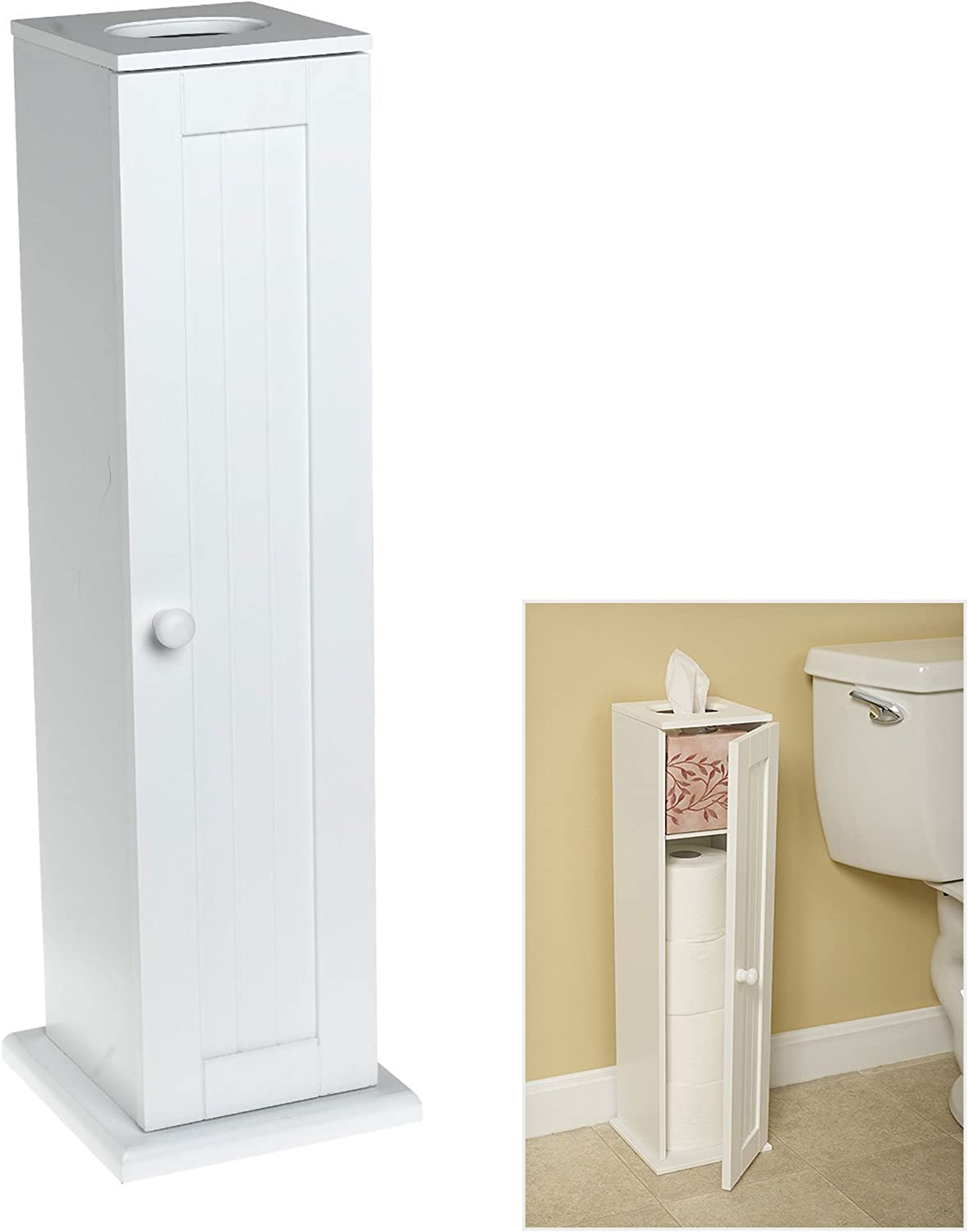 Amazon Com Free Standing White Toilet Paper Bathroom Cabinet Holder Home Improvement