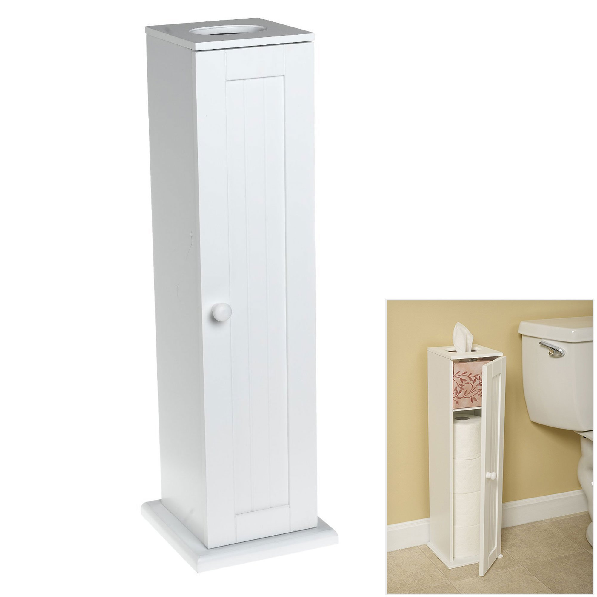 Free Standing White Toilet Paper Bathroom Cabinet Holder by Wholesale Plumbing Supply