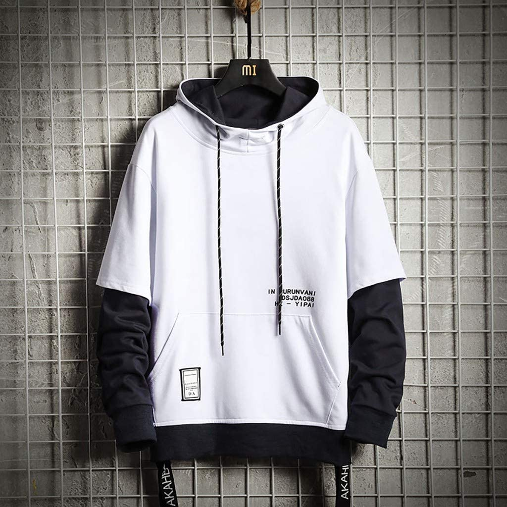 SFE Mens New Loose Stitching Fake Two-Piece Drawstring Hoodie Ultra Soft Warm Letter Print Sweatshirt with Pocket