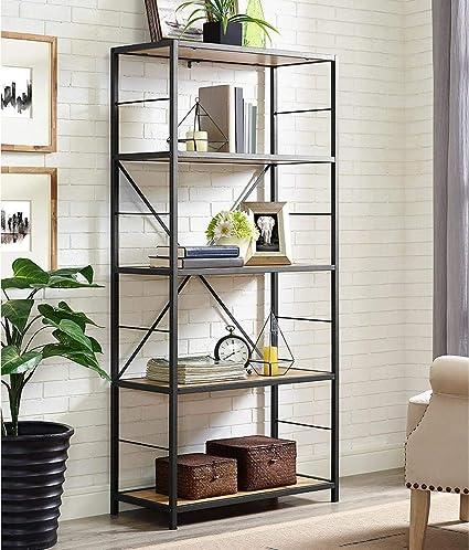 WE Furniture X Frame Metal Wood Media Bookshelf 63quot