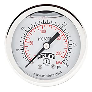 """Winters PFQ Series Stainless Steel 304 Dual Scale Liquid Filled Pressure Gauge with Brass Internals, 0-30 psi/kpa, 2"""" Dial Display, +/-2.5% Accuracy, 1/8"""" NPT Back Mount"""