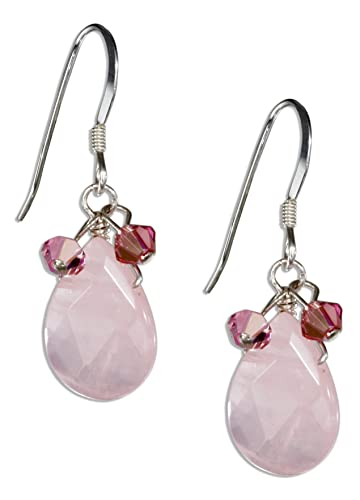 51f97ab7f Amazon.com: Sterling Silver Rose Quartz Teardrop Earrings with Pink  Austrian Crystals: Dangle Earrings: Jewelry