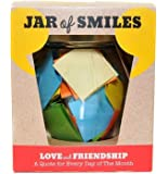 "Love & Friendship in a Jar. A Month of Thoughtful Quotations - NEW STYLE Premium Italian Glass Jar. 31 Multi-Coloured Quotes to Show Someone How Much You Value Their Friendship. ""Be The Reason Someone Smiles Today"" Complete with gift box."