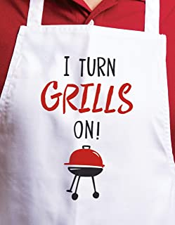 product image for Imagine Design Relatively Funny I Turn Grills On Heavy Weight 100% Cotton Apron, One Size, Red/Black/White