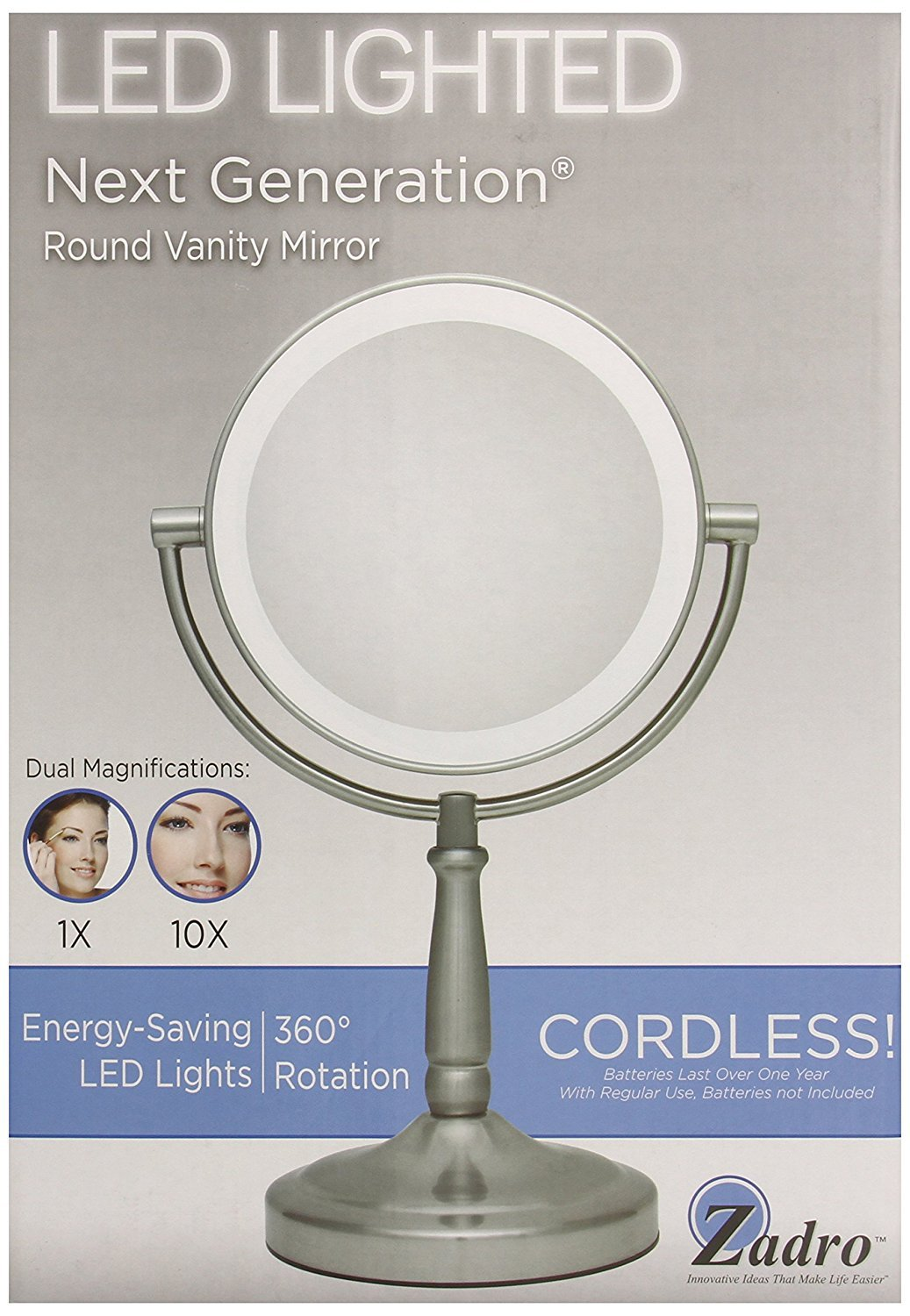 Amazon zadro 10x1x magnification dual sided vanity mirror amazon zadro 10x1x magnification dual sided vanity mirror satin nickel personal makeup mirrors beauty aloadofball Image collections