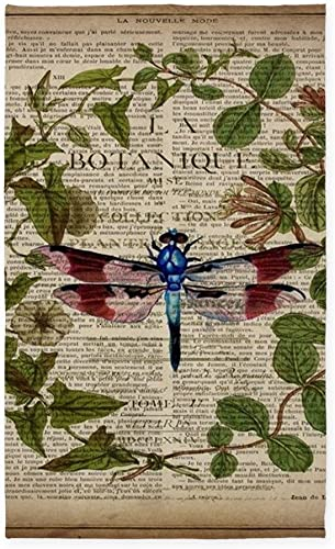 CafePress Vintage Botanical Dragonfly Decorative Area Rug