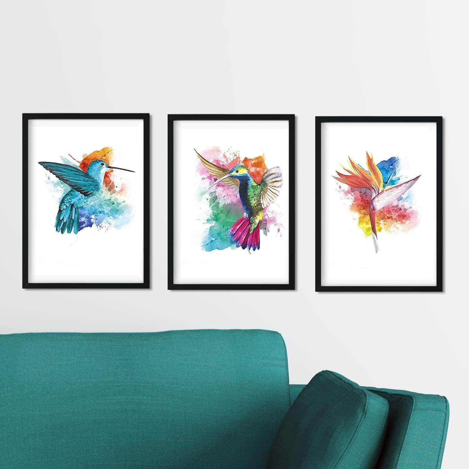 Nacnic Prints Birds Watercolor Style - Set of 3 - Unframed 8x11 inch Size - 250g Paper - Beautiful Poster Painting for Home Office Living Room