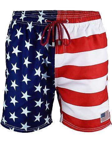 eea2dc66ce US Apparel Licensed-Mart Men's American Flag Inspired Board Shorts