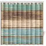 InterestPrint Antique Old Planks American Style Western Rustic Wooden Fabric Bathroom Shower Curtain 72 X 72 Inches Extra Long