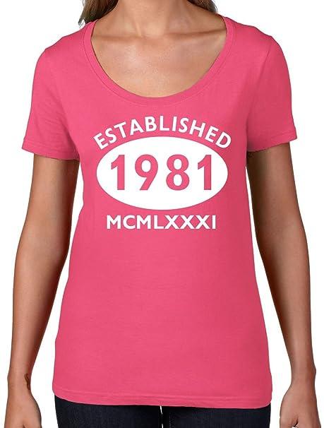 76a0cd5e4d Established 1981 Roman Numerals - 36th Birthday - Womens Scoop Neck T-Shirt  - Azalea
