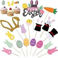 Blulu 34 Piezas de Toppers de Magdalena de Happy Easter Toppers de Tarta en Conejito Chick