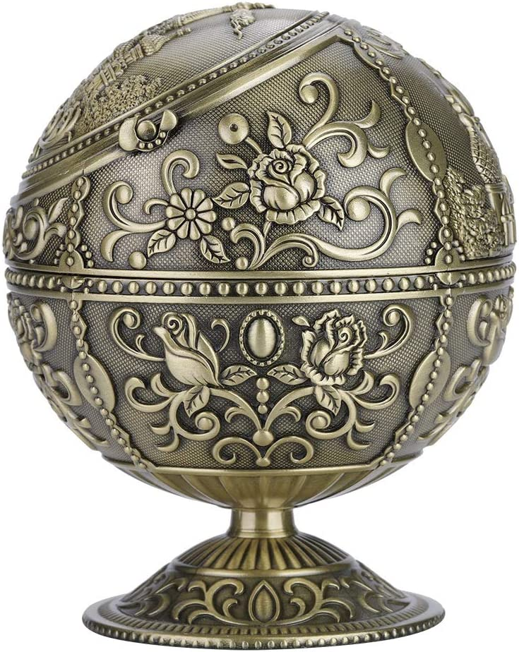 European Retro Ashtray Vintage Art Craft Ashtray Metal Round Ball Stamped Pattern Gift Decoration with Lid Ash Fashion Creative Home Ashtray Color : Chrome
