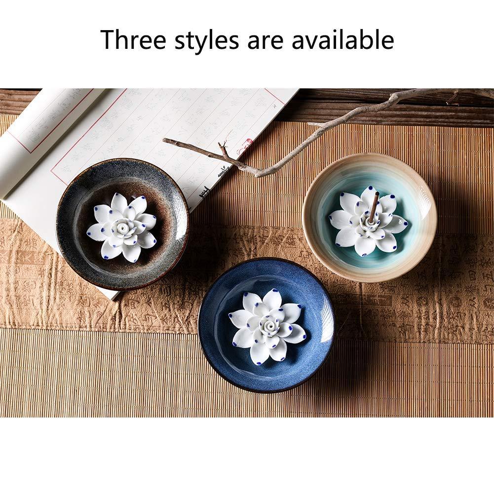 Uniidea Incense Burner Bowl, Ceramic Handicraft Incense Holder for Sticks, Coil Lotus Ash Catcher Tray 4.62 Inch Gray by Uniidea (Image #6)