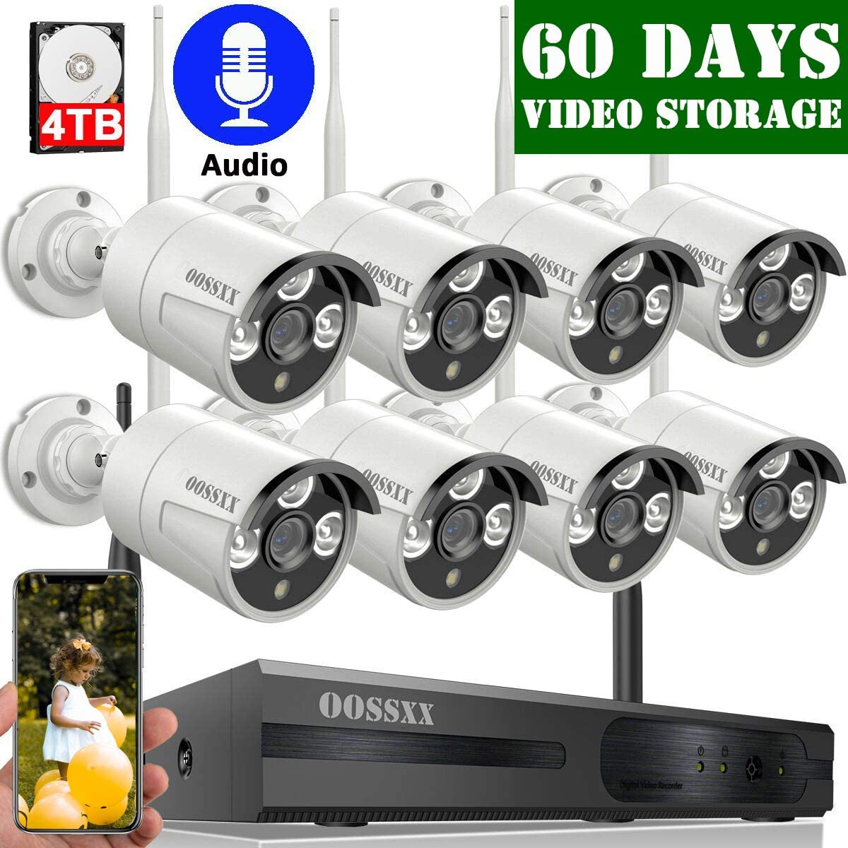 2020 Update OOSSXX 8-Channel HD 1080P Outdoor Wireless Security Camera System,8Pcs 1080P Wireless Indoor Outdoor IR Bullet IP Cameras,P2P,App, HDMI Cord 4TB Hard Drive Pre-Install