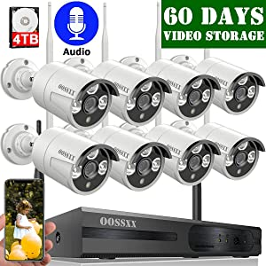 【2020 Update】 OOSSXX 8-Channel HD 1080P Outdoor Wireless Security Camera System,8Pcs 1080P Wireless Indoor/Outdoor IR Bullet IP Cameras,P2P,App, HDMI Cord & 4TB Hard Drive Pre-Install