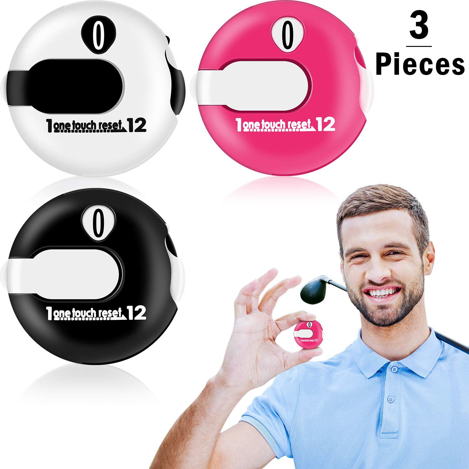 Frienda Golf Score Counter Mini Golf Stroke Counter with One Touch Reset and Simple Attachment to Scorekeeper Glove in, 3 Pieces by Frienda